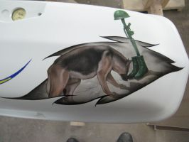 airbrushed K-9 showing respect on yamaha bag lid by Jonny5nLala