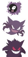Gastly - Haunter - Gengar by Nortiker