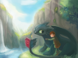 Toothless and Hiccup by hiraco