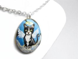 Tuxedo Cat Pendant Necklace by sobeyondthis