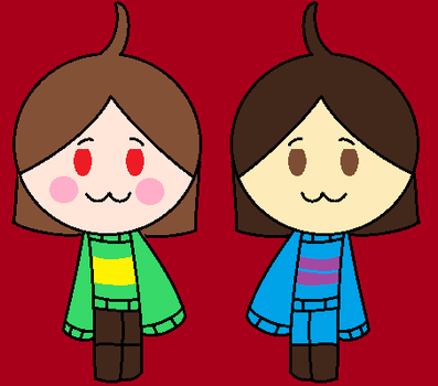Chara and Frisk by BenesovaBa