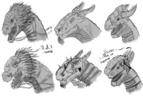 Dragon Heads (biological/mechanical) by CloudedEnigma