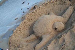 Sea turtle Sand Sculpture by Mang0l0v3r