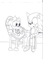 sonic trying to feed colby by tailslover42