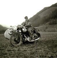 Motorbike with sidecar - Historic Picture by UdoChristmann