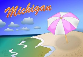 Michigan Beach Postcard by Art-by-Andy