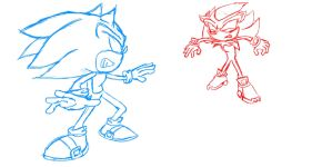 Sonic vs. Shadow base (read desc.) by CranicTH