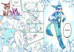Eevee evolves to Glaceon by nya-nannu