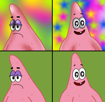 ~PATRICK STAR~ With and without shading by ZeldaGirl88