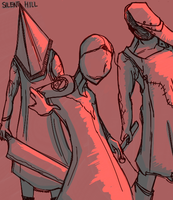 Pyramid Head, Valtiel and the Butcher (Colored) by Excalibur-chan
