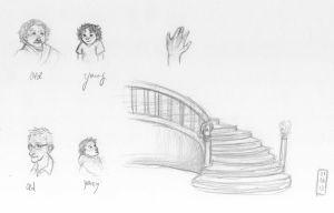 Sketch-a-Day 01-06-13: Old and Young - Staircase by ThroughMyThoughts
