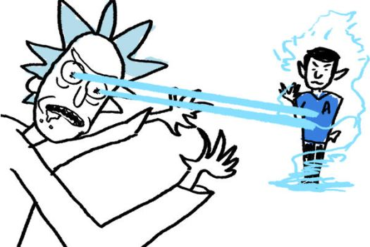 And here we see Rick Sanchez vaporizing Spock by izuna1313