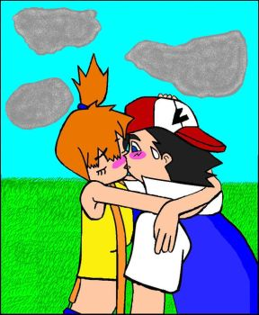 Ash and Misty Kiss--paint by Toughguy1415
