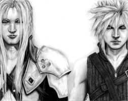 FF7 - Advent Children, Cloud and Sephiroth by y3nd0