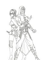 Lineart - Skarlet and Ermac by Grace-Zed