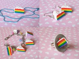 Rainbow Cake Jewelry by CantankerousCupcake