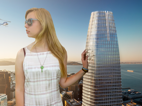 Giantess Ellie Spots a Helicopter by dochamps