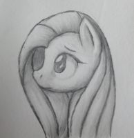 Charcoal Fluttershy by FadedSketch