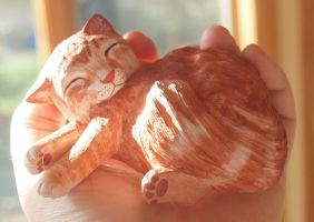 Sleeping Cat Carving by greencheek