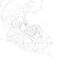 Character Sketch (Mayleaf and Kiershen) down time by Shirowe
