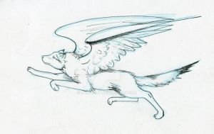 Sketch, Again one angel wolf by ZyriFrost