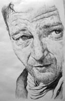 John Wayne pen sketch by CubistPanther