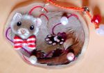 Ferret with pearls charm by SirKittenpaws