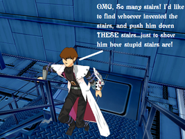 MMD Kaiba vs. the stairs by Eripmav-darkness