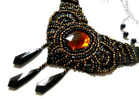 black bib beaded necklace ani jewelry design by AniDandelion