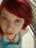 Gray eyes and red hair by MeganYourFace