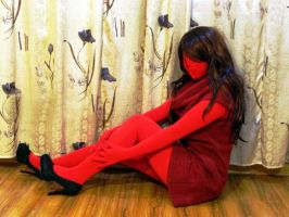 Girl in red zentai by mysexyzentai