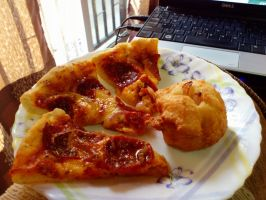 pizza and fried bun by plainordinary1