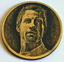 Jenson Button Wood Beer Mat by WoodBoxEdition