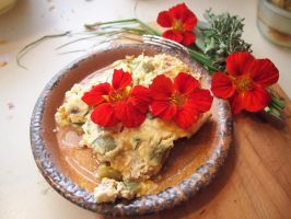 Quiche with Nasturtiums by Demara