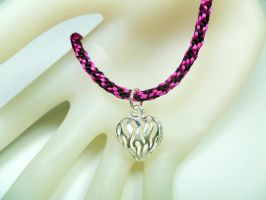 Valentine's Day Kumihimo Bracelet with Heart Charm by QuietMischief