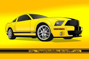 Yellow Mustang by happienoodleboy