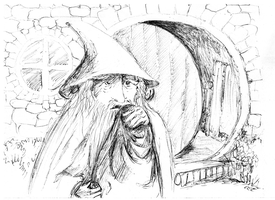 Gandalf at Crickhollow by Rearda
