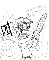 This is me and my chainsaw by DarkerThanBlack