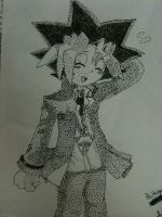 Yugi Mutou Stipple by AliHedge96