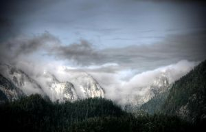Mountains at Lunch by Muskeg