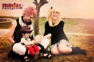 Natsu, Lucy and Asuka by rascret