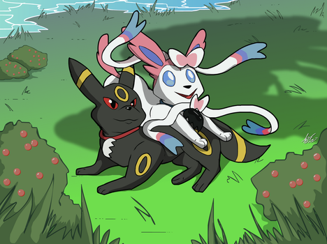 Commission: Umbreon and Sylveon by BestHeelofAllTime
