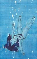 Nekomimi-girl is diving into the water by chidori-marineblue
