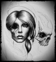 dead girl with skull in process by TimHag