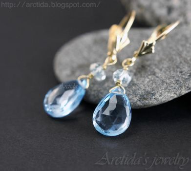 *Calypso* Blue Topaz Aquamarine earrings by Arctida