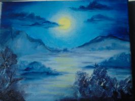 Winter's Night (Oil Painting) by CalebsArtCreations