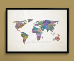 World Map watercolor print by ColourInk