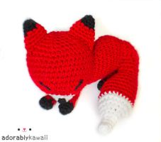 Red Sleepy Fox Amigurumi by adorablykawaii