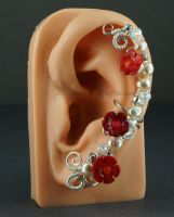 Coral Flower and Champagne Pearls Fairy Ear Cuff by Gailavira