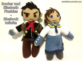 Bioshock Infinite Plushies - Booker and Elizabeth by Chibidoodles